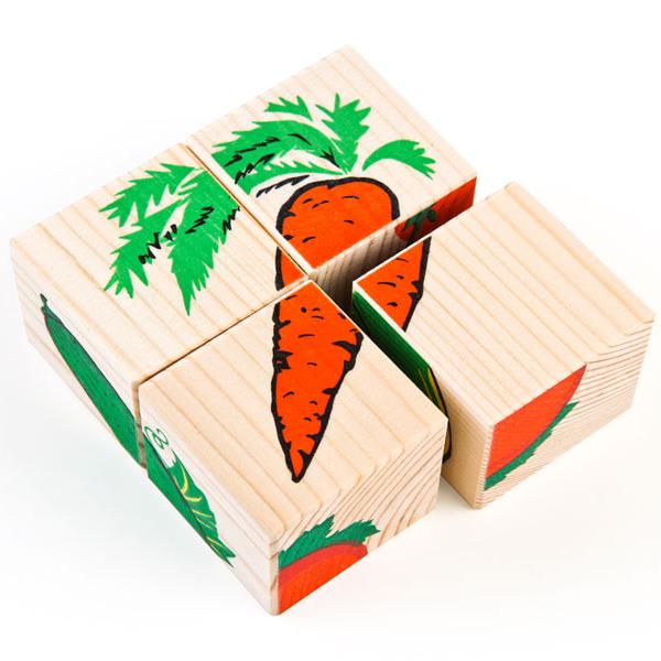 Дер. Кубики 4шт Овощи 3333-6 купить оптом и в розницу