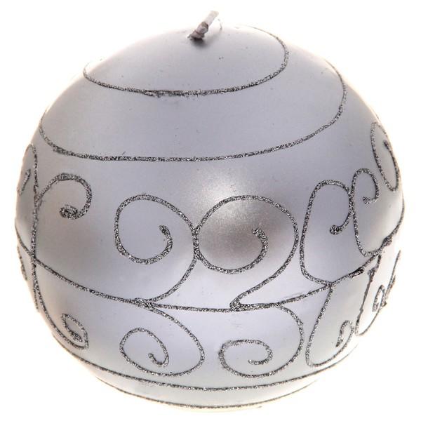 Свеча 1102 ″Шар серебристый″ 9см. купить оптом и в розницу
