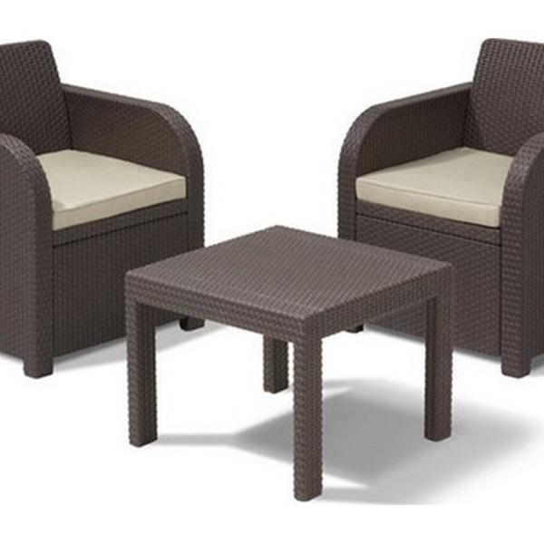 Комплект садовой мебели  ( ротанг) ATLANTA Curver  2 стула,стол коричн.с подушками купить оптом и в розницу