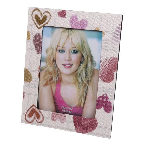 Фоторамка под кожу ″Восхищение″ розовые сердечки 15*20см купить оптом и в розницу