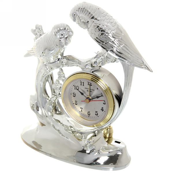 Часы сувенирные ″Попугаи″ OKA01011 серебристые купить оптом и в розницу