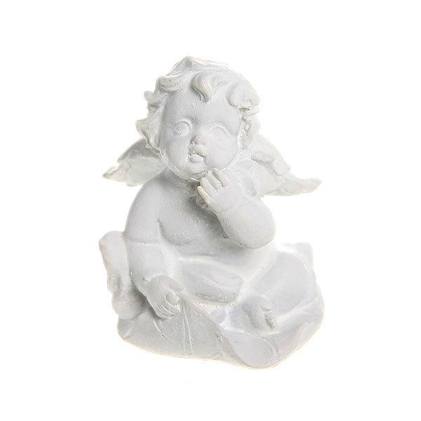 Фигурка из полистоуна ″Белый Ангел″ на листочке 4,5*3,5 см купить оптом и в розницу