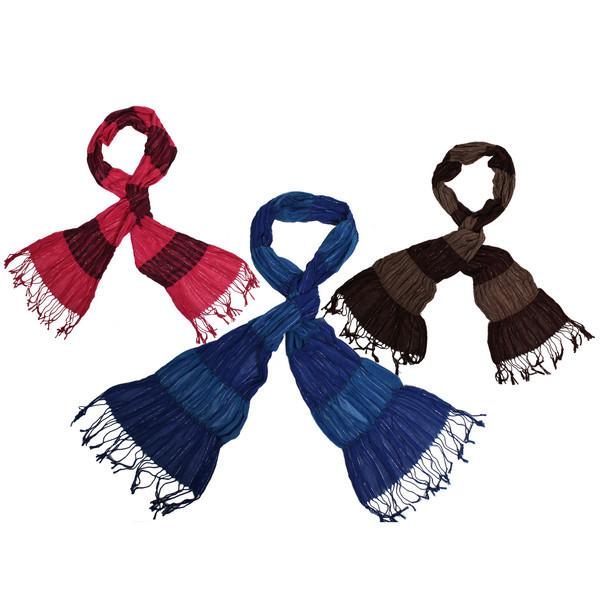 Палантин женский ″Двухцветный″, микс 3 цвета, полиэстер, 60*160см купить оптом и в розницу
