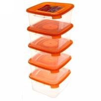 Набор контейнеров 5 шт ″Каскад″ 0,46л квадратный *18 купить оптом и в розницу