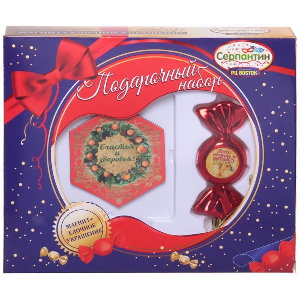 Набор магнит и елочная игрушка-конфетка ″Счастья и здоровья!″, Куриное семейство купить оптом и в розницу