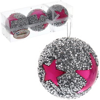 Новогодние шары ″Рок-звезда″ 8см (набор 3 шт.) купить оптом и в розницу