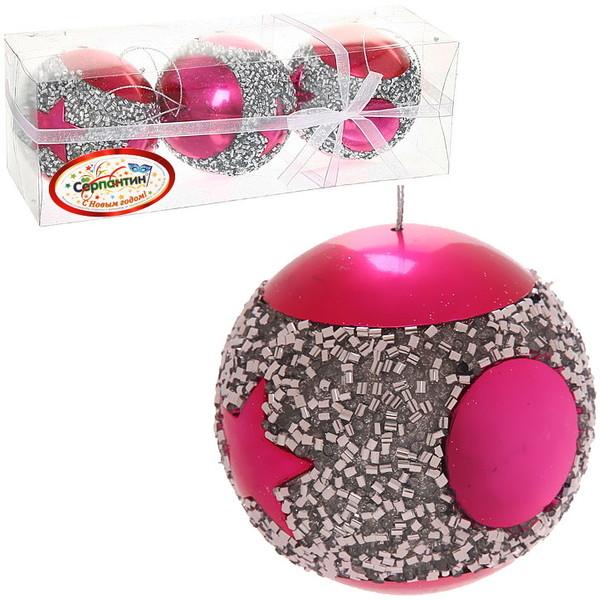 Новогодние шары ″Звезда Гламура″ 8см (набор 3шт.) купить оптом и в розницу