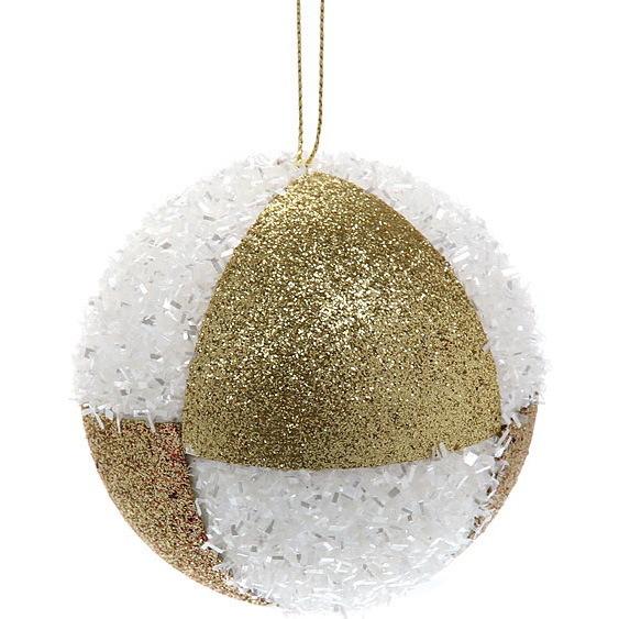 Новогодние шары ″Шахматка бело-золотая″ 8см (набор 3шт.) купить оптом и в розницу