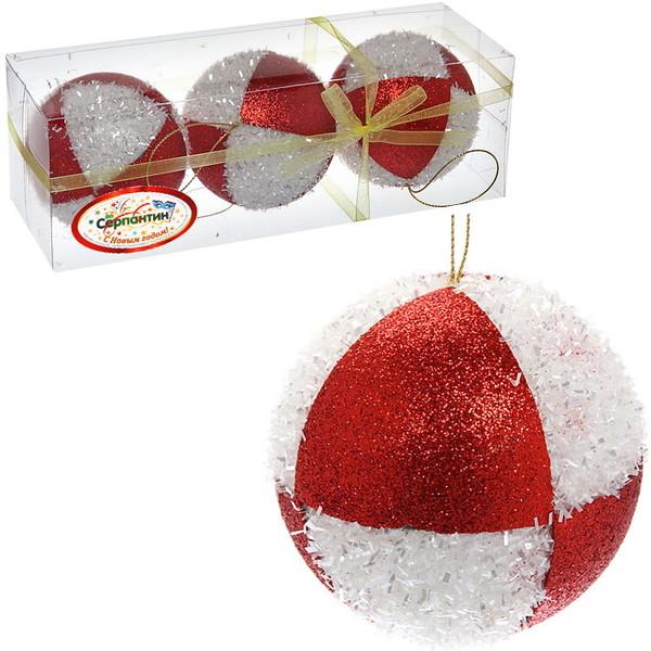 Новогодние шары ″Шахматка бело-красная″ 8см (набор 3шт.) купить оптом и в розницу