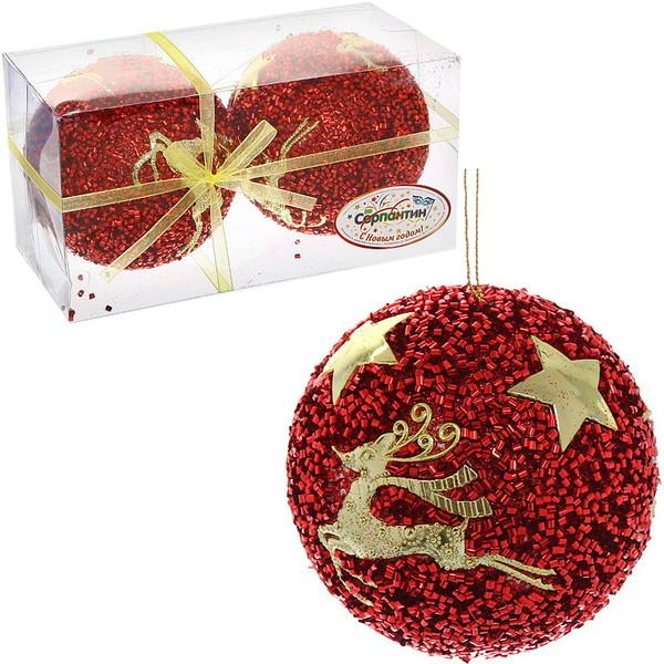 Новогодние шары ″Лесной олень″ 10см (набор 2шт.) купить оптом и в розницу