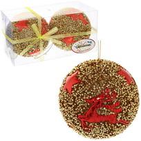 Новогодние шары ″Рождественский олень″ 10см (набор 2шт.) купить оптом и в розницу