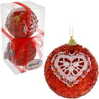 Новогодние шары ″Рубин с кружевным сердце″ 10см (набор 2шт.) купить оптом и в розницу