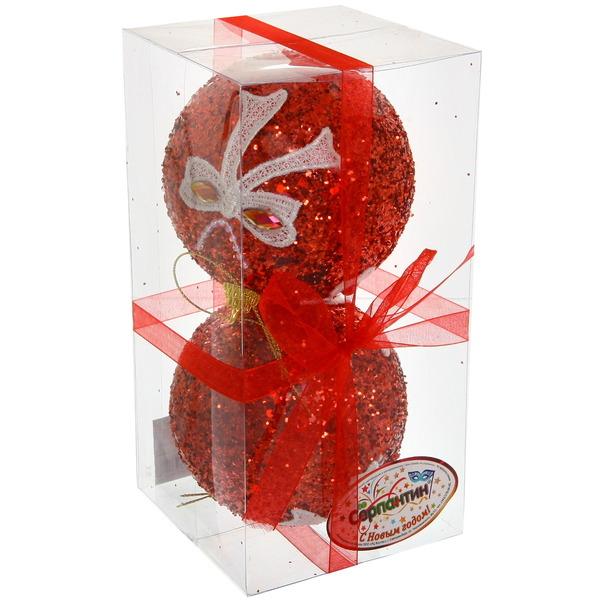 Новогодние шары ″Рубин с кружевным бантом″ 10см (набор 2шт.) купить оптом и в розницу