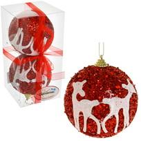 Новогодние шары ″Рубин с кружевными оленями″ 10см (набор 2шт.) купить оптом и в розницу