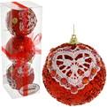 Новогодние шары ″Рубин с кружевным сердцем″ 8см (набор 3шт.) купить оптом и в розницу