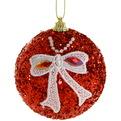 Новогодние шары ″Рубин с кружевным бантом″ 8см (набор 3шт.) купить оптом и в розницу