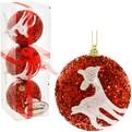 Новогодние шары ″Рубин с кружевным оленем″ 8см (набор 3шт.) купить оптом и в розницу