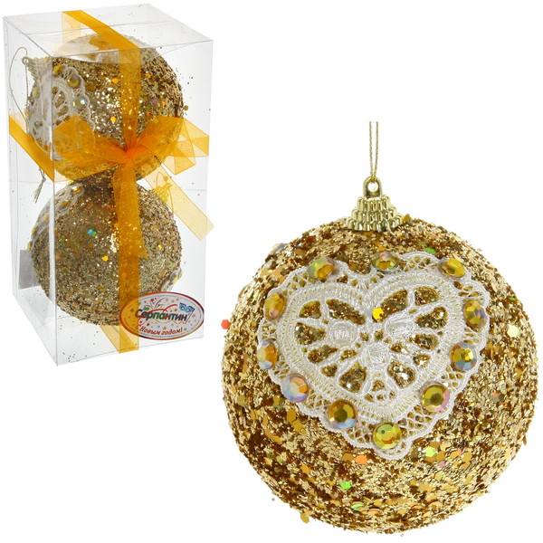 Новогодние шары ″Золото с кружевным сердцем″ 10см (набор 2 шт.) купить оптом и в розницу