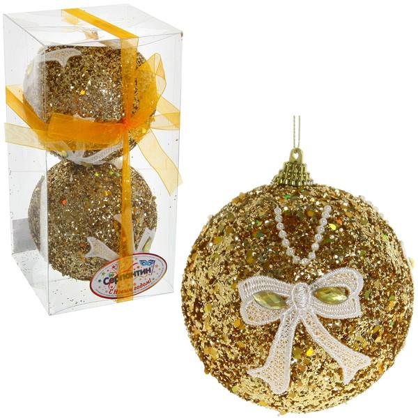 Новогодние шары ″Золото с кружевным бантом″ 10см (набор 2 шт.) купить оптом и в розницу