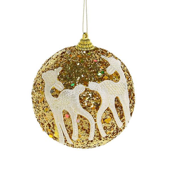Новогодние шары ″Золото с кружевными оленями″ 10см (набор 2шт.) купить оптом и в розницу