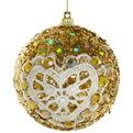 Новогодние шары ″Золото с кружевным сердцем″ 8см (набор 3шт.) купить оптом и в розницу