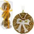 Новогодние шары ″Золото с кружевным бантом″ 8см (набор 3шт.) купить оптом и в розницу