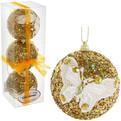 Новогодние шары ″Золото с кружевной бабочкой″ 8см (набор 3шт.) купить оптом и в розницу
