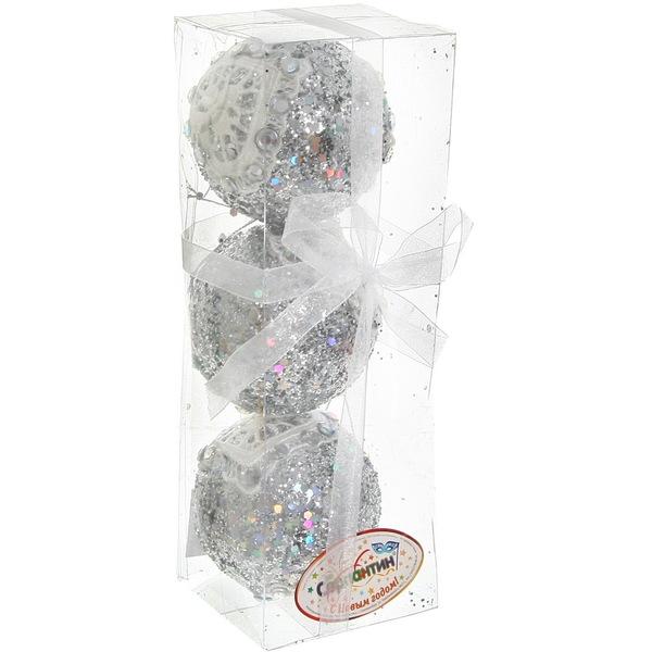 Новогодние шары ″Серебро с кружевным сердцем″ 10см (набор 2шт.) купить оптом и в розницу