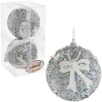 Новогодние шары ″Серебро с кружевным бантом″ 10см (набор 2шт.) купить оптом и в розницу