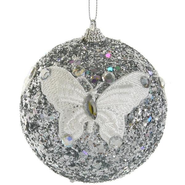 Новогодние шары ″Серебро с кружевной бабочкой″ 10см (набор 2шт.) купить оптом и в розницу