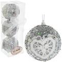 Новогодние шары ″Серебро с кружевным сердцем″ 8см (набор 3шт.) купить оптом и в розницу