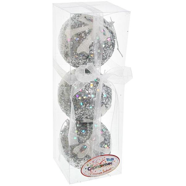 Новогодние шары ″Серебро с кружевным бантом″ 8см (набор 3шт.) купить оптом и в розницу