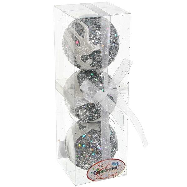 Новогодние шары ″Серебро с кружевным оленем″ 8см (набор 3шт.) купить оптом и в розницу