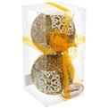 Новогодние шары ″Кружевная снежинка в золоте″ 10см (набор 2шт.) купить оптом и в розницу