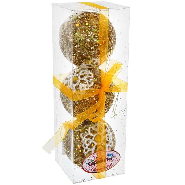 Новогодние шары ″Золото с кружевной снежинкой″ 8см (набор 3шт.) купить оптом и в розницу