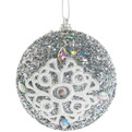 Новогодние шары ″Серебро с кружевной снежинкой″ 8см (набор 3шт.) купить оптом и в розницу