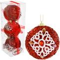 Новогодние шары ″Рубин с кружевной снежинкой″ 8см (набор 3шт.) купить оптом и в розницу