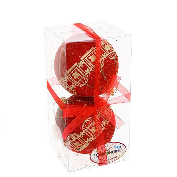 Новогодние шары ″Рубиновая птичка в клетке″ 10см (набор 2 шт.) купить оптом и в розницу