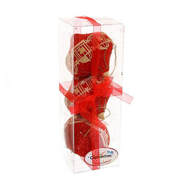 Ёлочные игрушки, набор 3шт, 8см ″Юла кружево рубин″ Орнамент купить оптом и в розницу