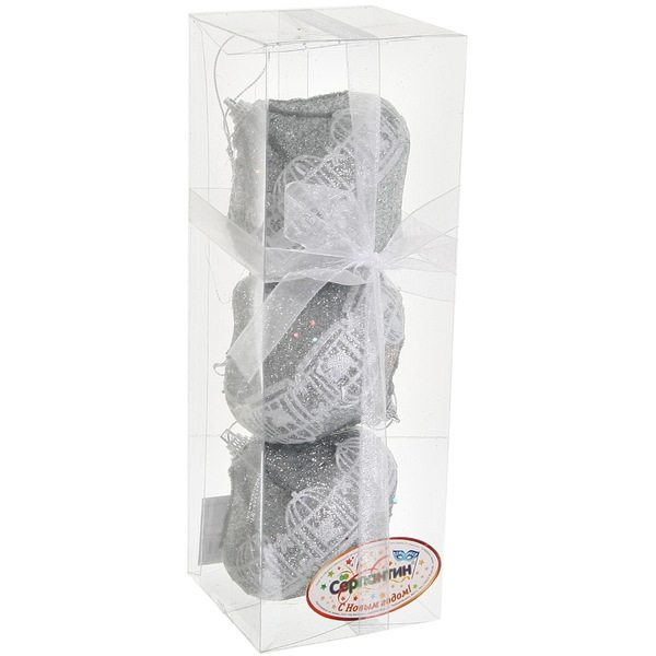 Ёлочные игрушки, набор 3шт, 8см ″Юла кружево серебро″ Орнамент купить оптом и в розницу