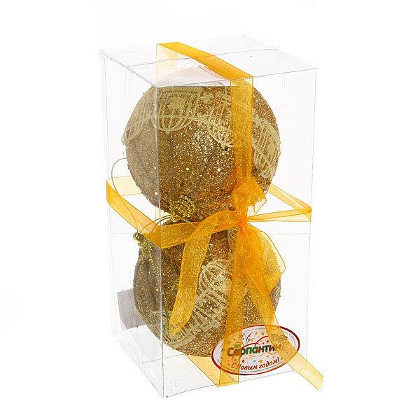 Новогодние шары ″Золотая птичка в клетке″ 10см (набор 2шт.) купить оптом и в розницу