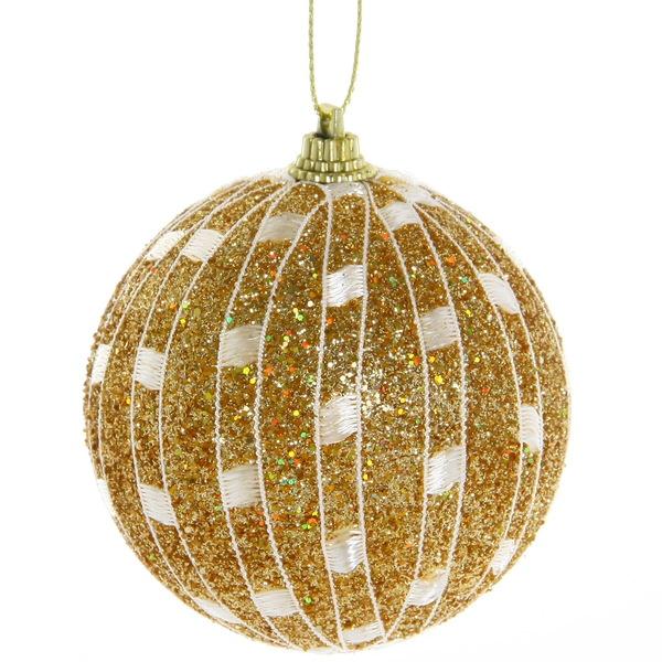 Новогодние шары ″Золотая сеточка″ 8см (набор 3шт.) купить оптом и в розницу