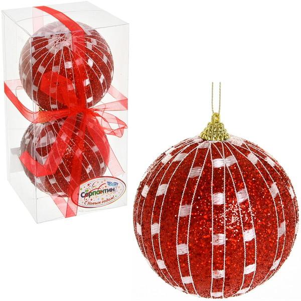 Новогодние шары ″Рубиновая сетка″ 10см (набор 2шт.) купить оптом и в розницу