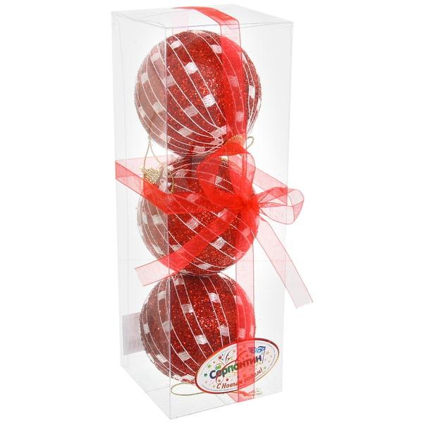 Новогодние шары ″Рубиновая сеточка″ 8см (набор 3шт,) купить оптом и в розницу