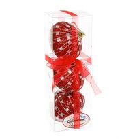 Ёлочные игрушки, набор 3шт, 8см ″Юла рубиновая сеточка″ купить оптом и в розницу