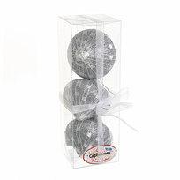 Ёлочные игрушки, набор 3шт, 8см ″Юла серебряная сеточка″ купить оптом и в розницу