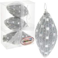 Ёлочные игрушки, набор 3шт, 8см ″Серебряная сеточка″ купить оптом и в розницу