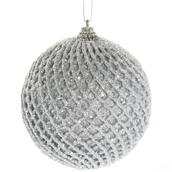 Новогодние шары ″Серебряная фантазия″ 10см (набор 2шт.) купить оптом и в розницу