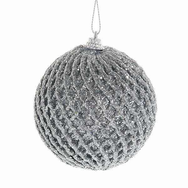 Новогодние шары ″Серебряная фантазия″ 8см (набор 3шт.) купить оптом и в розницу