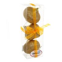 Ёлочные игрушки, набор 3шт, 8см ″Юла мечта Золотая″ купить оптом и в розницу